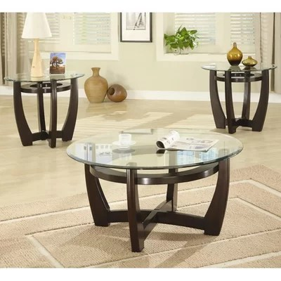 Red Barrel Studio High West 3 Piece Coffee Table with Glass Top - 3 piece living room table set