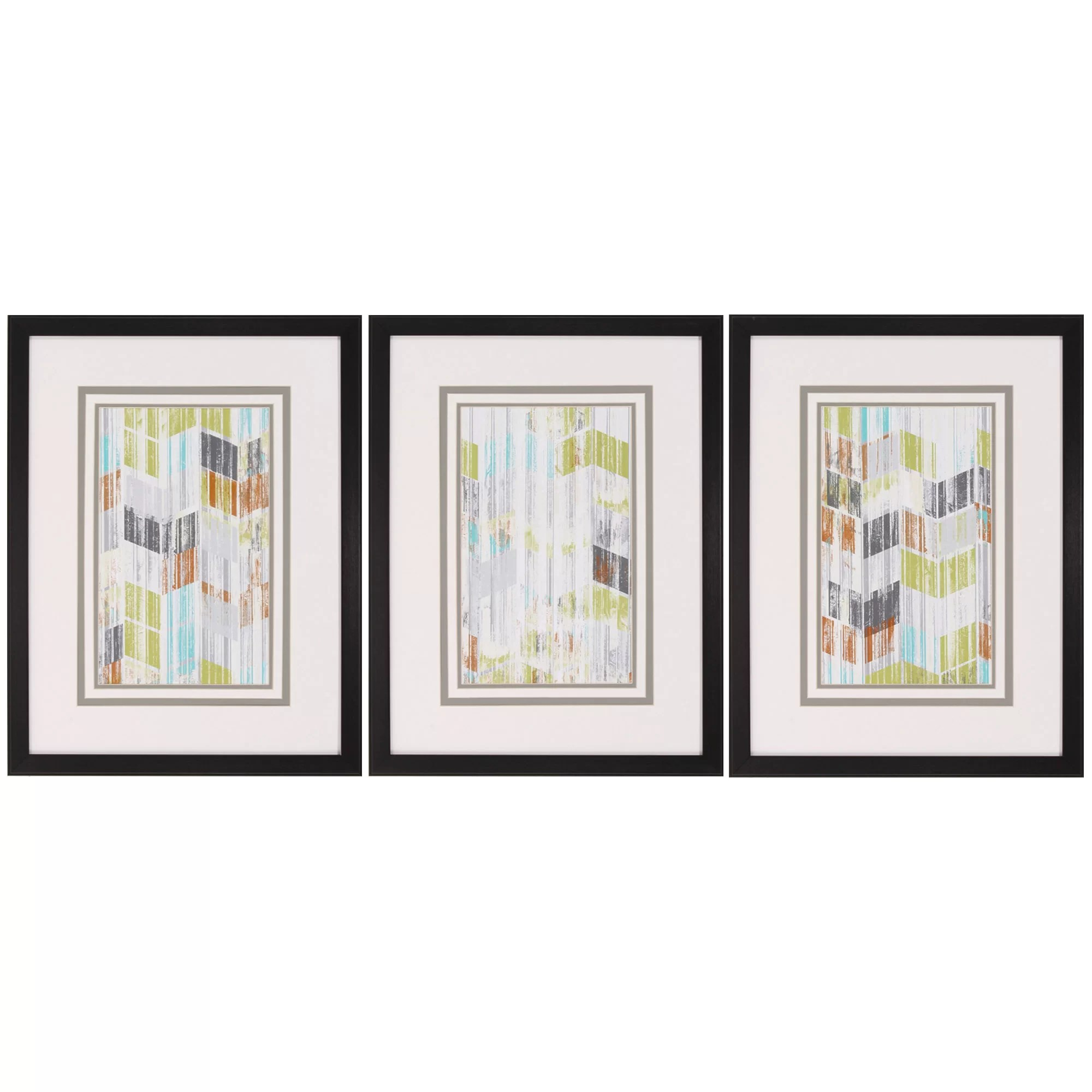 Framed Wall Art Sets Of 3 Propac Images Brushed Chevron I 3 Piece Framed Graphic Art