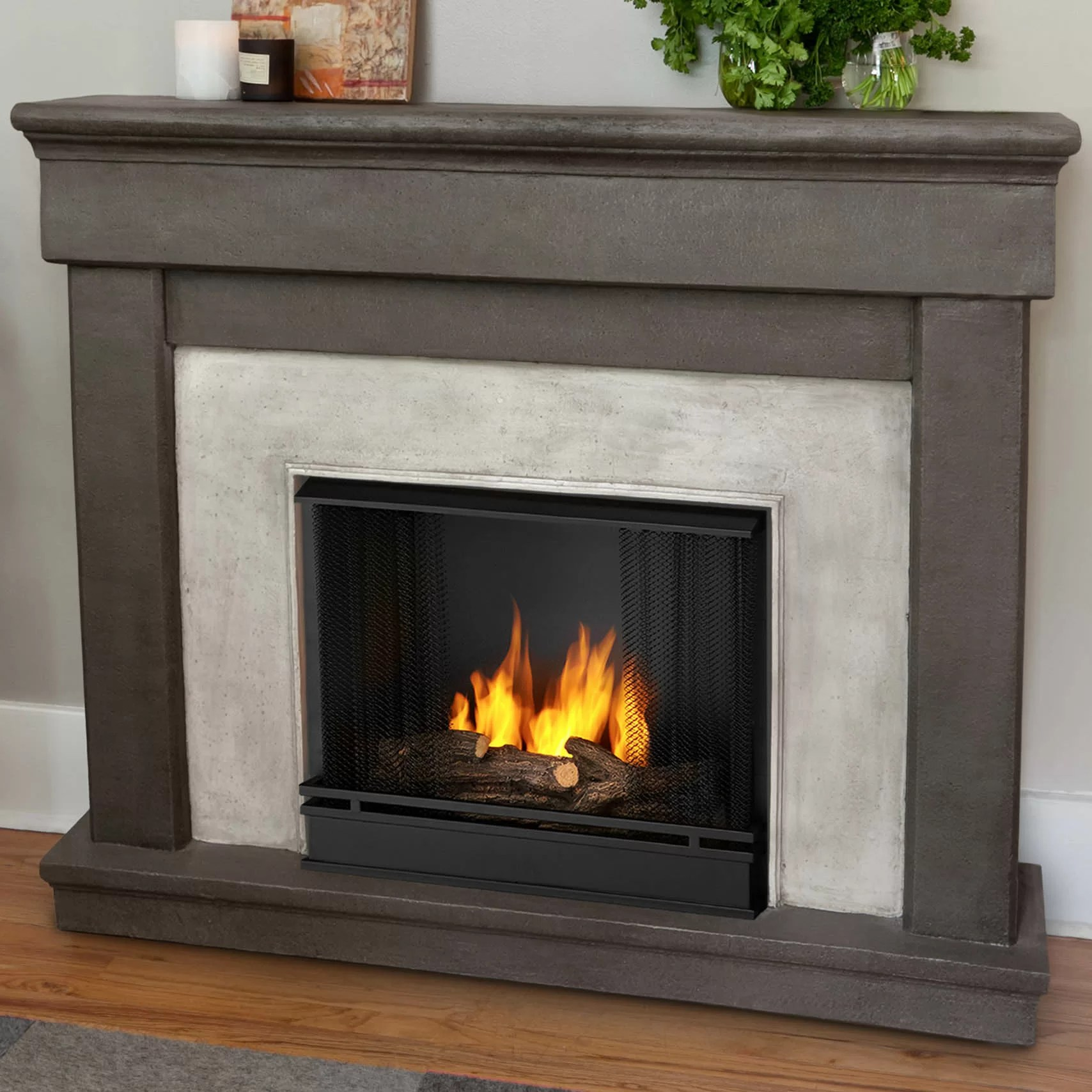 Fireplace Wall Mantels Real Flame Cast Mantel Cascade Wall Mount Gel Fuel