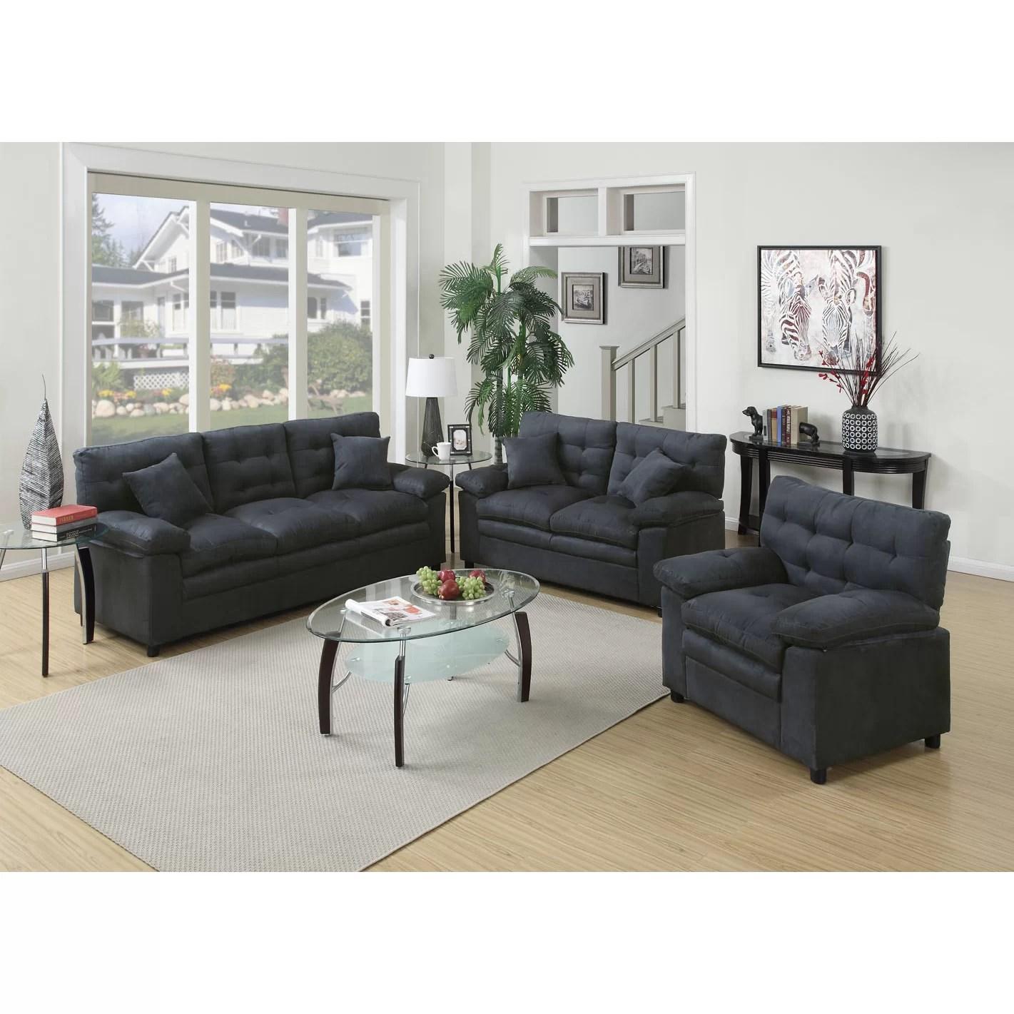 Poundex Bobkona Colona 3 Piece Living Room Set & Reviews