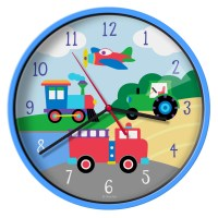 """Wildkin Olive Kids Trains, Planes, Trucks 12"""" Wall Clock ..."""