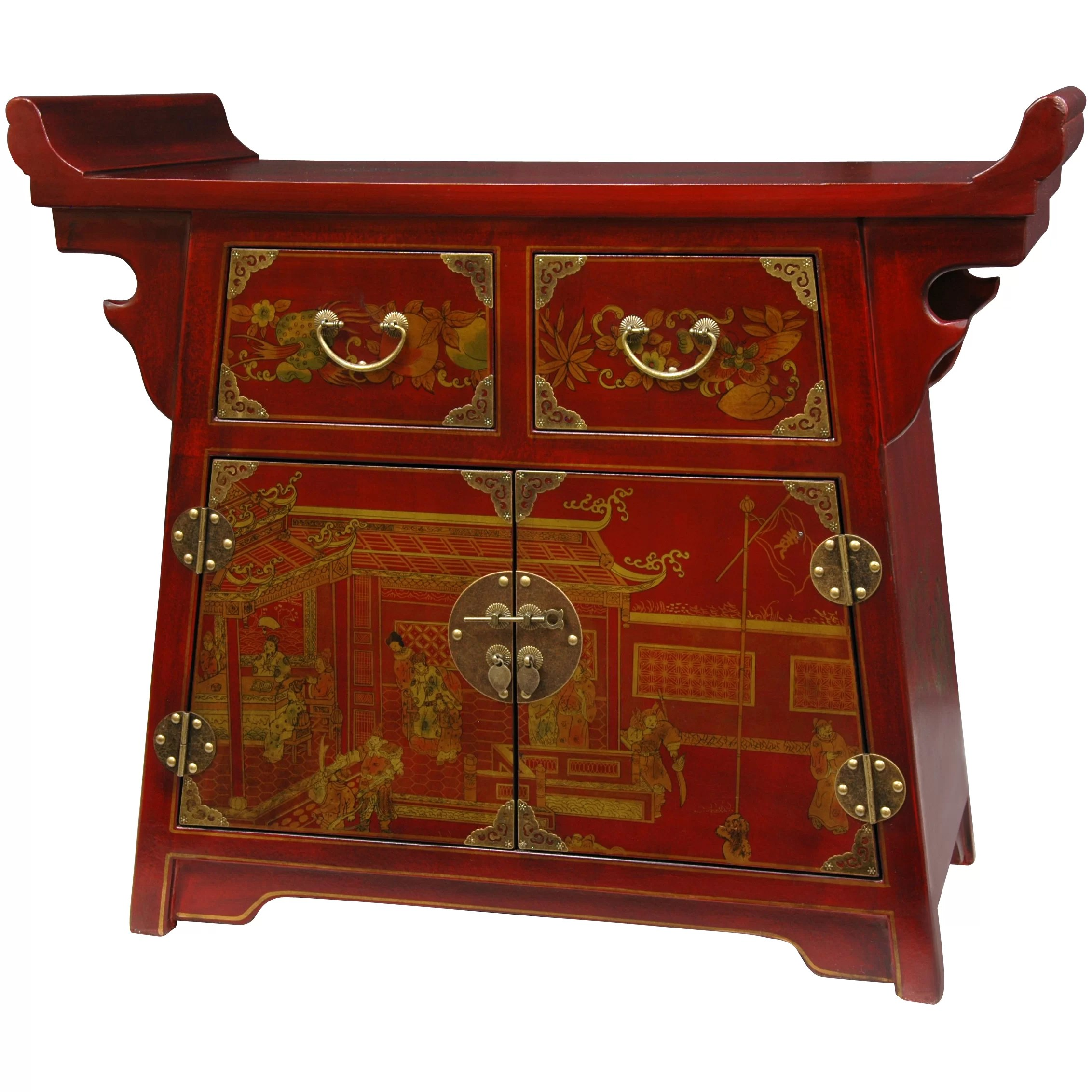 Asian Furniture Oriental Furniture Lacquer Village Life Altar Cabinet