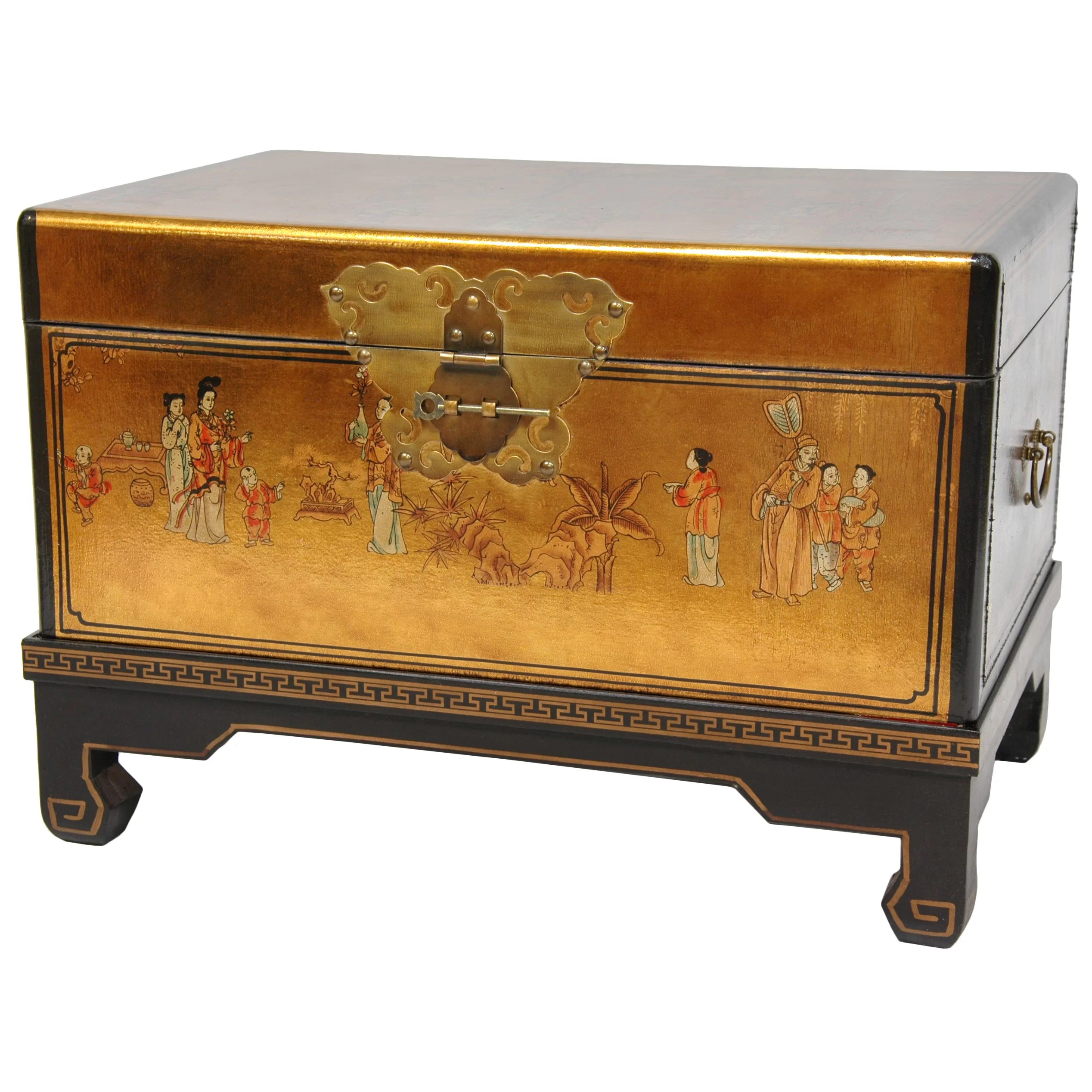 Asian Furniture Oriental Furniture Lacquer Small Keepsake Trunk & Reviews