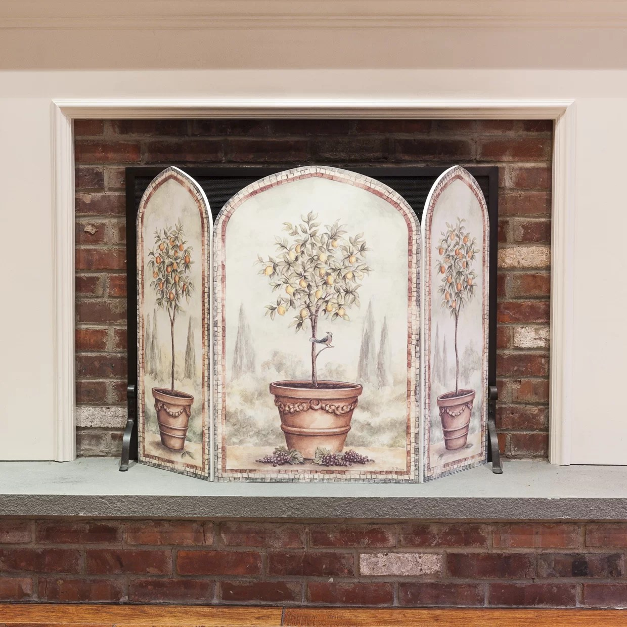 Fireplace Screens Tree Design Stupell Industries Orange And Lemon Trees 3 Panel