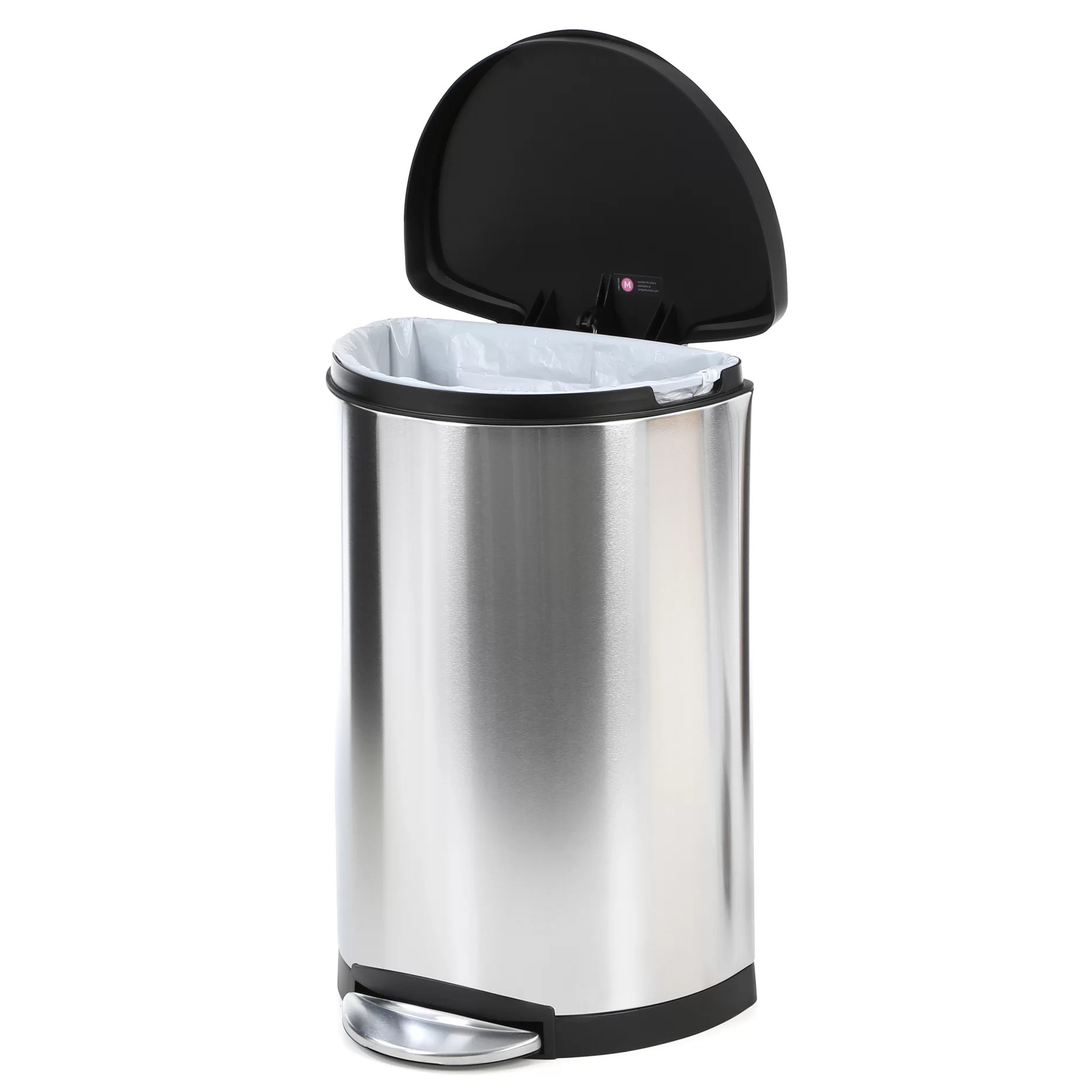 Black Bathroom Wastebasket Simplehuman 10 5 Gallon Step On Stainless Steel Trash Can