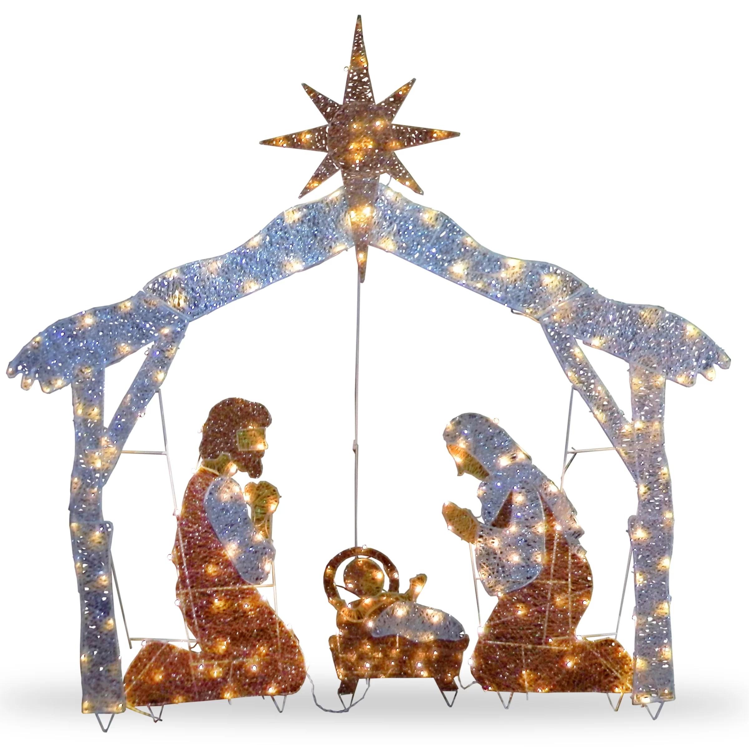 National Tree Co. Crystal Nativity Christmas Decoration