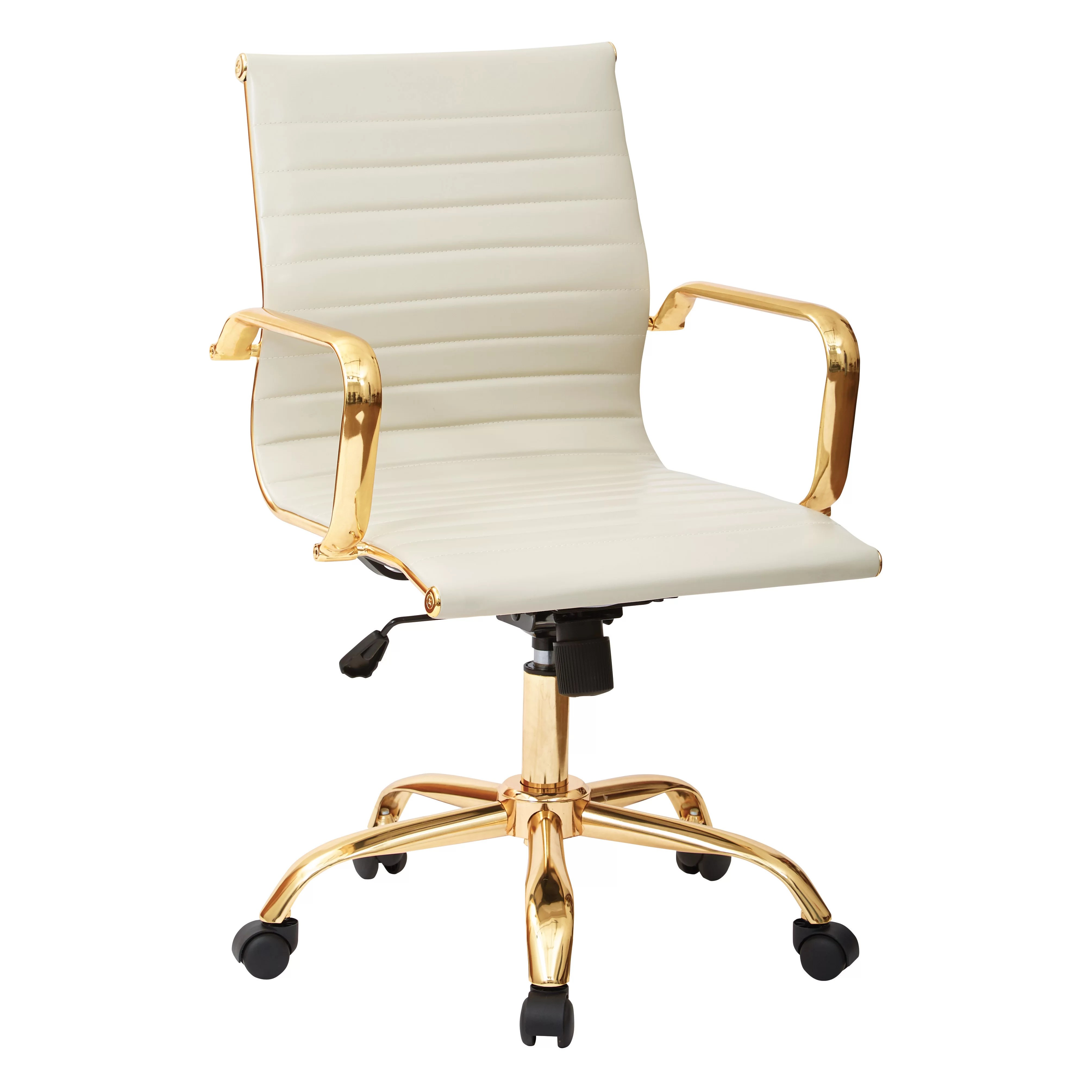 White And Gold Desk Chair Office Star Mid Back Executive Office Chair With Arms