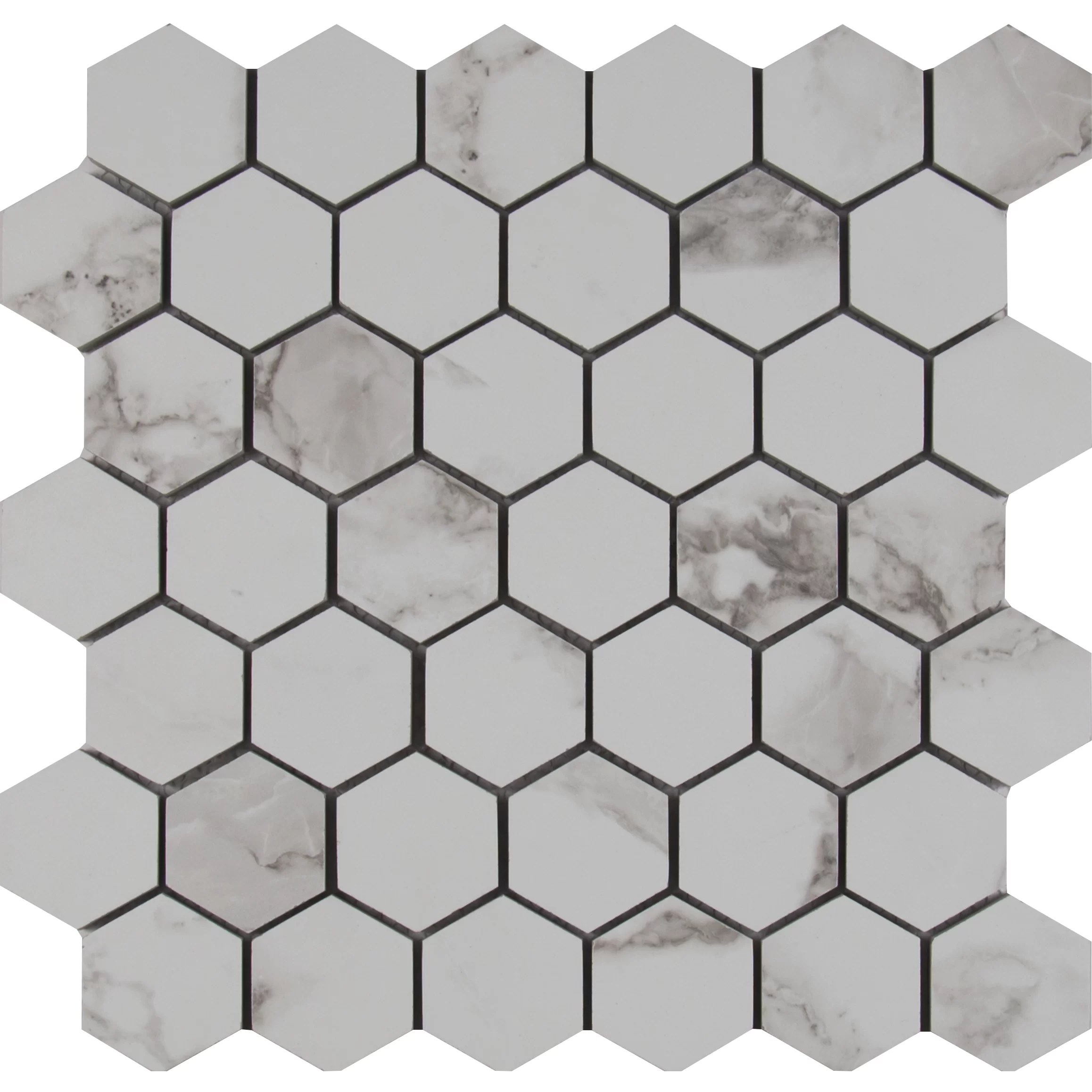"MSI Statuario 2"" x 2"" Hexagon Porcelain Mosaic Tile in"
