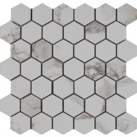 "MSI Statuario 2"" x 2"" Hexagon Porcelain Mosaic Tile in"