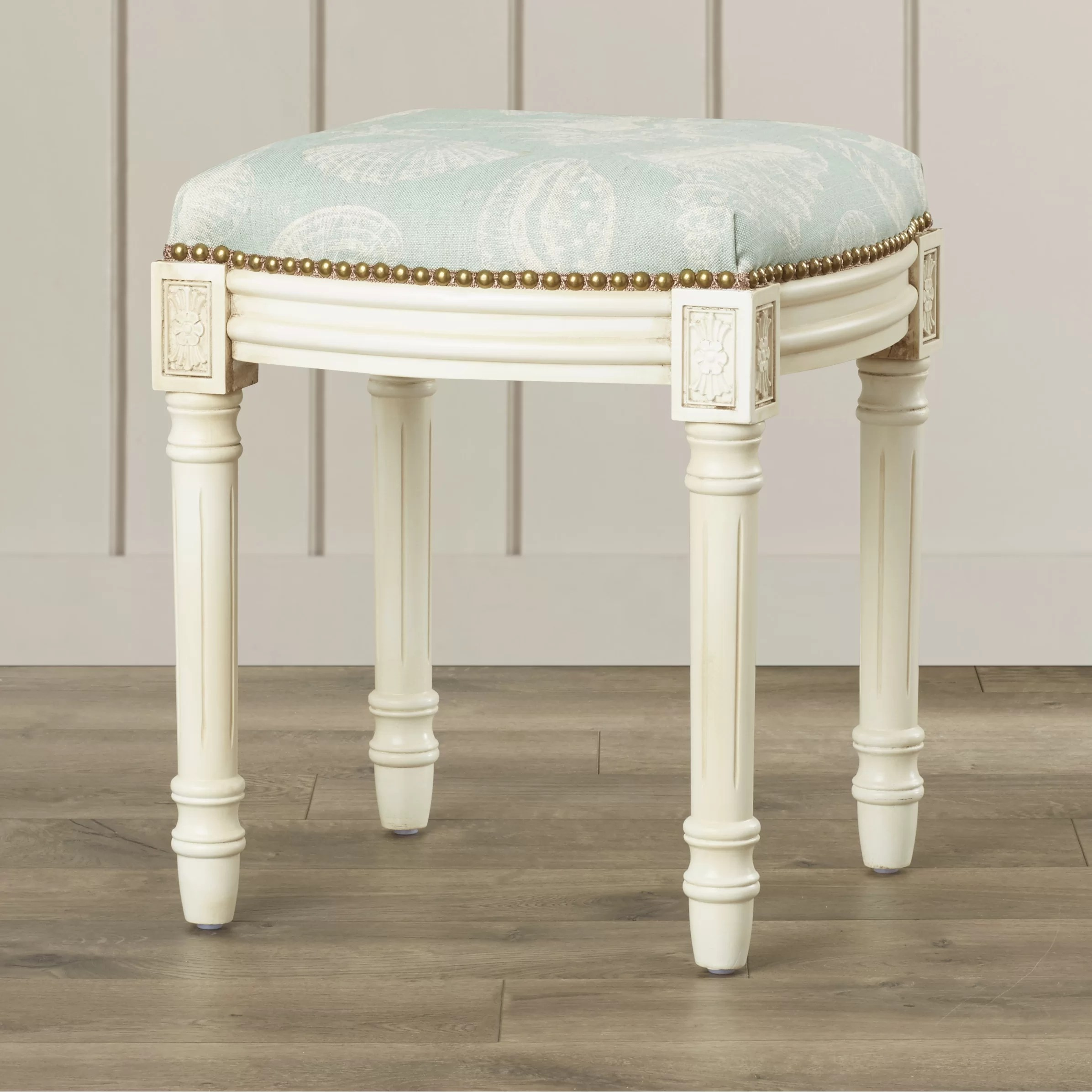 Bathroom Vanity Stools 123 Creations Coastal Seashells Linen Upholstered Vanity