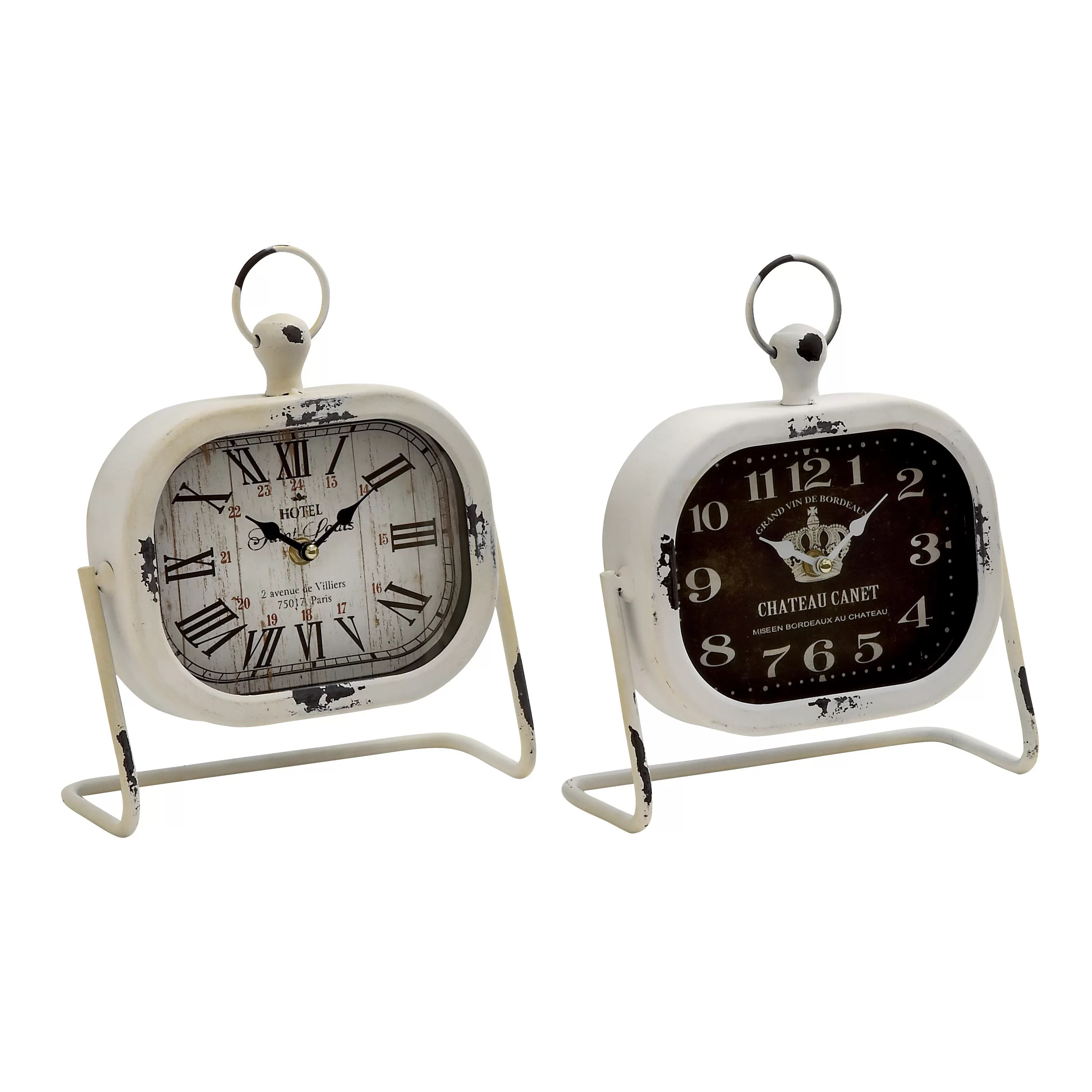 Metal Table Clock Woodland Imports 2 Piece Classic Metal Table Clock Set