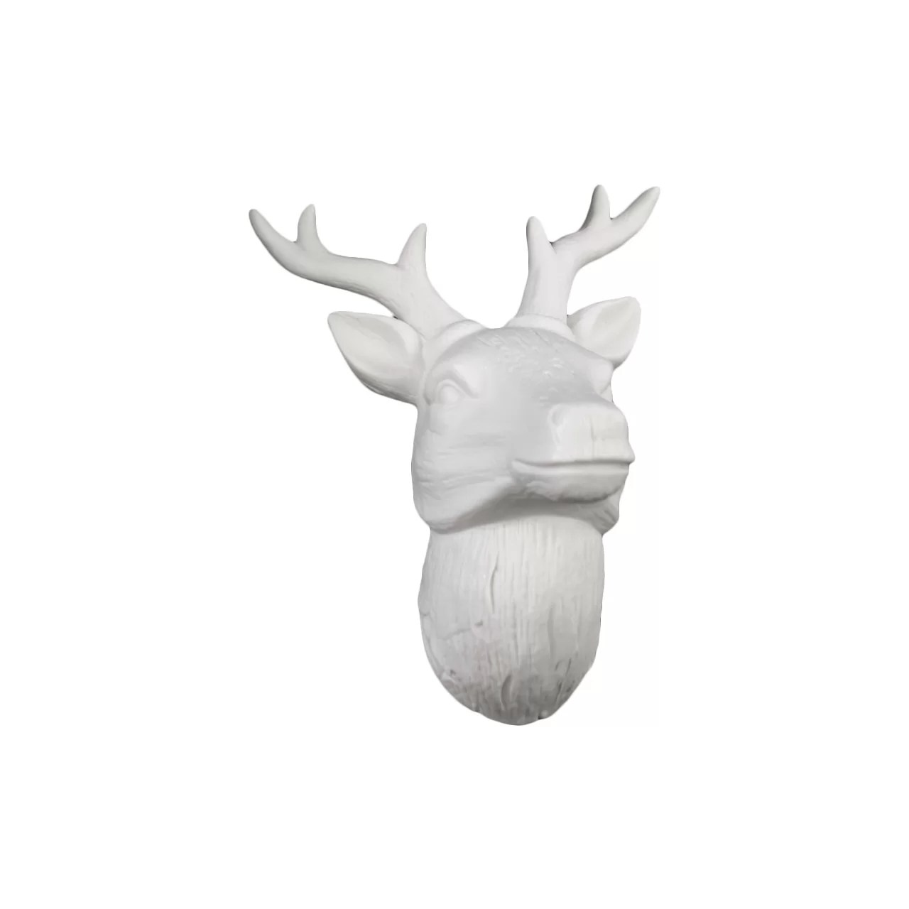 White Porcelain Deer Head Urban Trends Porcelain Deer Head Wall Decor Gloss White