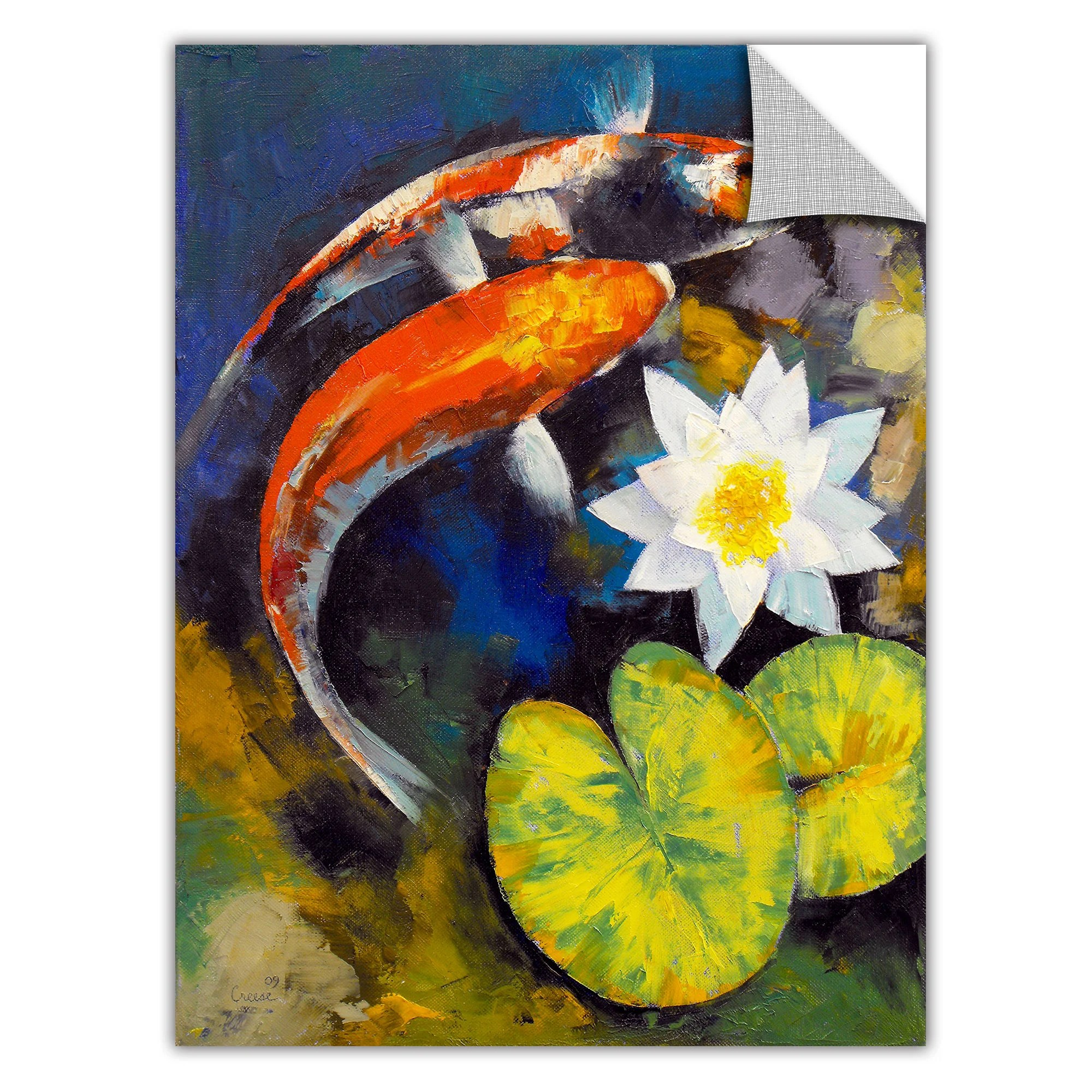 Large Vertical Paintings Artwall Artapeelz 39koi Fish And Water Lily 39 By Michael