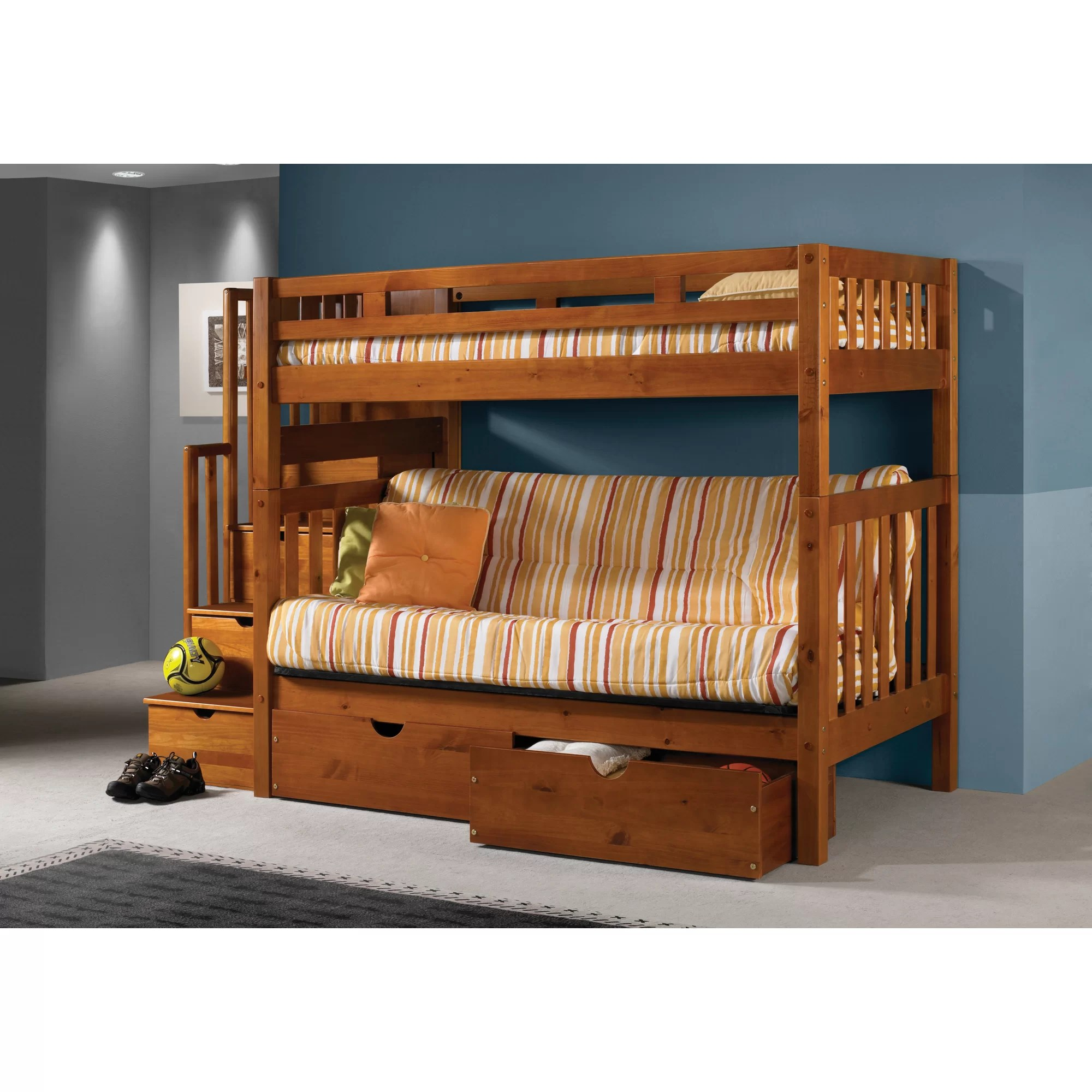 Bunk Beds With Storage Space Donco Kids Stairway Loft Bunk Bed With Storage Drawers