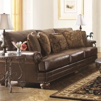 Signature Design by Ashley Leighton Leather Sofa & Reviews ...