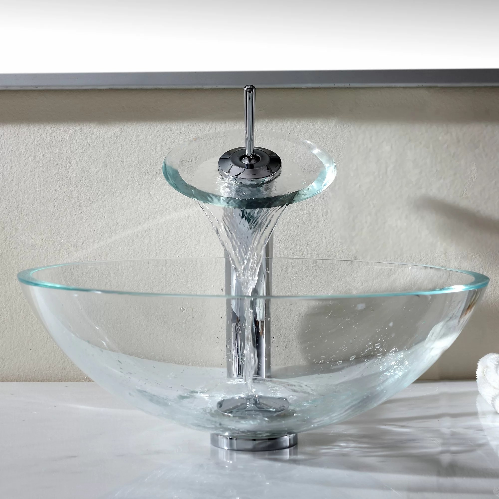 Waterfall Faucet For Vessel Sink Kraus Crystal Clear Glass Vessel Sink And Waterfall Faucet