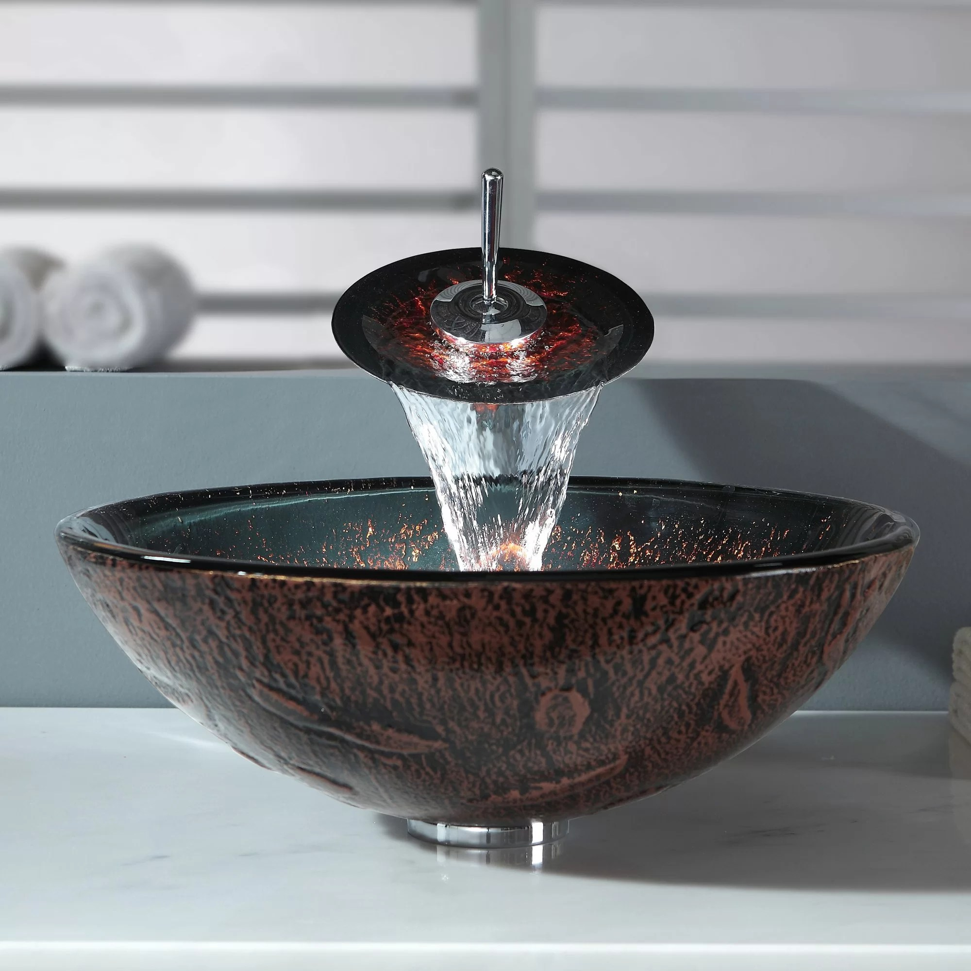 Waterfall Faucet For Vessel Sink Kraus Lava Glass Vessel Sink And Waterfall Faucet