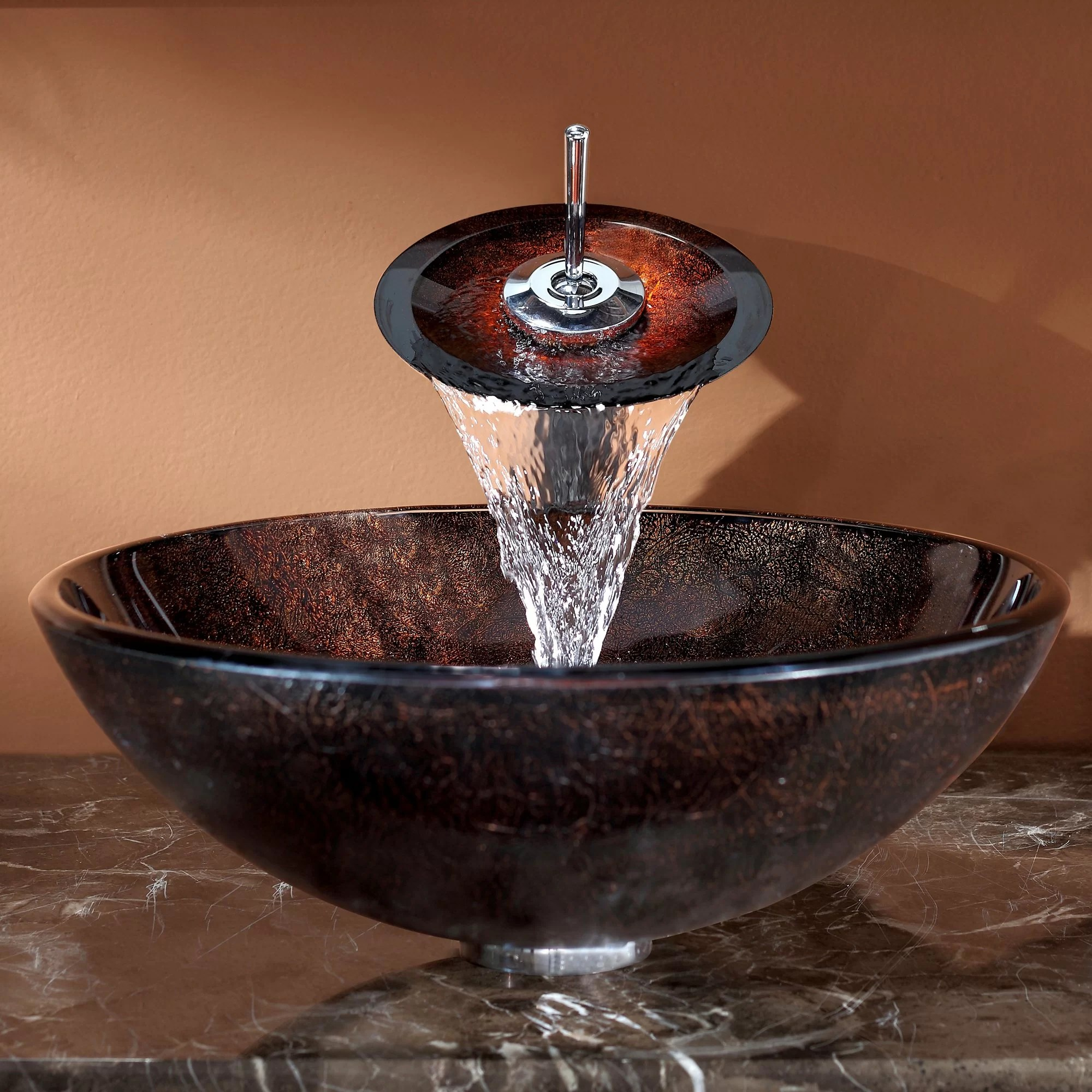 Waterfall Faucet For Vessel Sink Kraus Jupiter Vessel Bathroom Sink With Waterfall Faucet