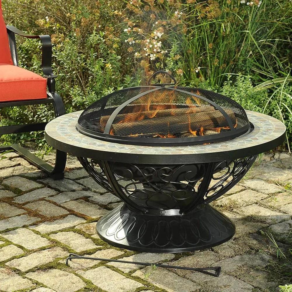 Sunjoy Monica Steel Slate Top Fire Pit & Reviews
