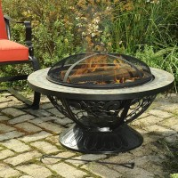 Sunjoy Monica Steel Slate Top Fire Pit & Reviews