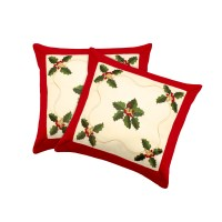 Window Elements Holiday Holly Embroidered Throw Pillow ...
