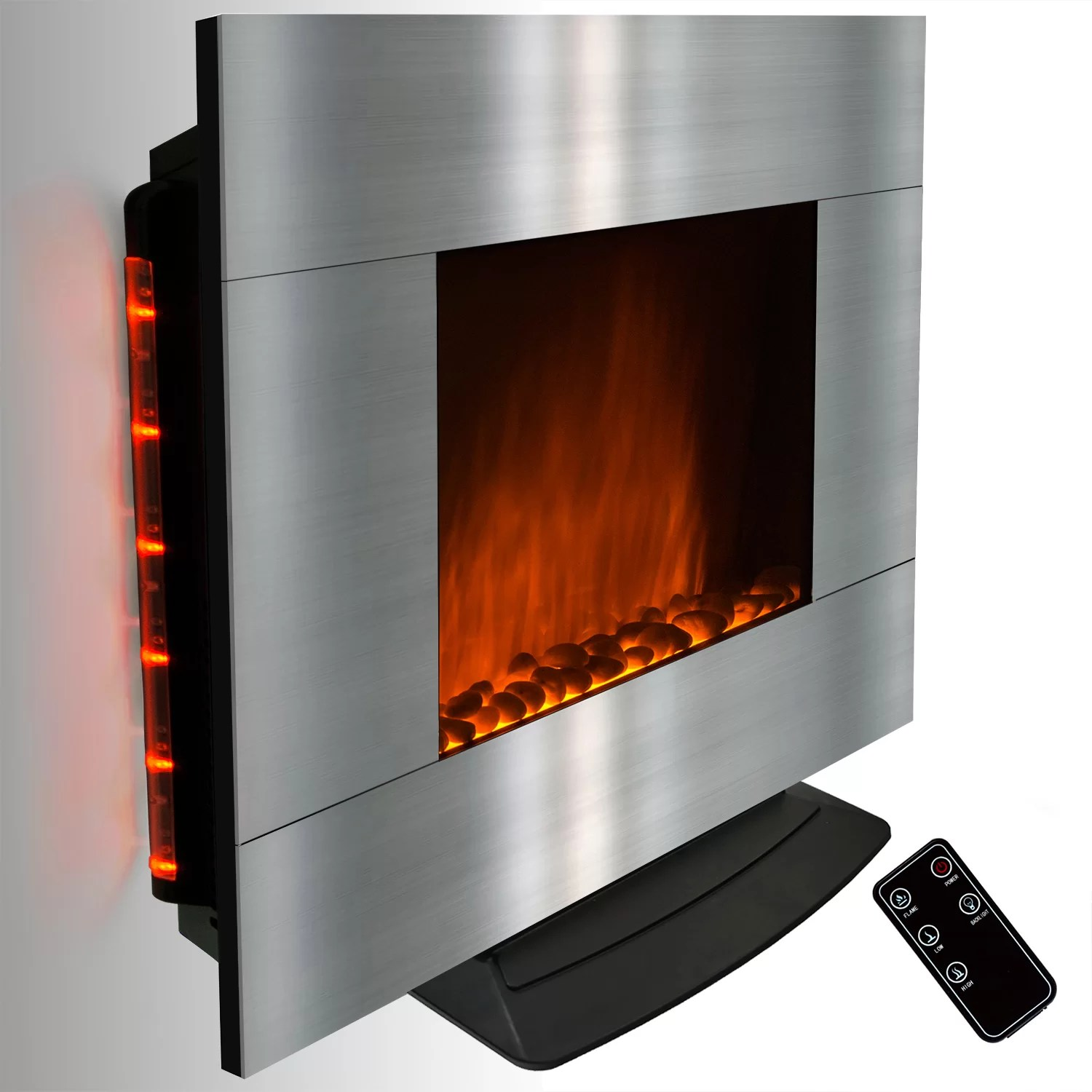 Stainless Steel Fireplace Akdy Freestanding Stainless Steel Electric Fireplace Wayfair