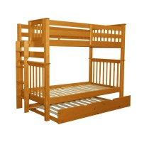Bedz King Mission Twin over Twin Bunk Bed with Trundle ...