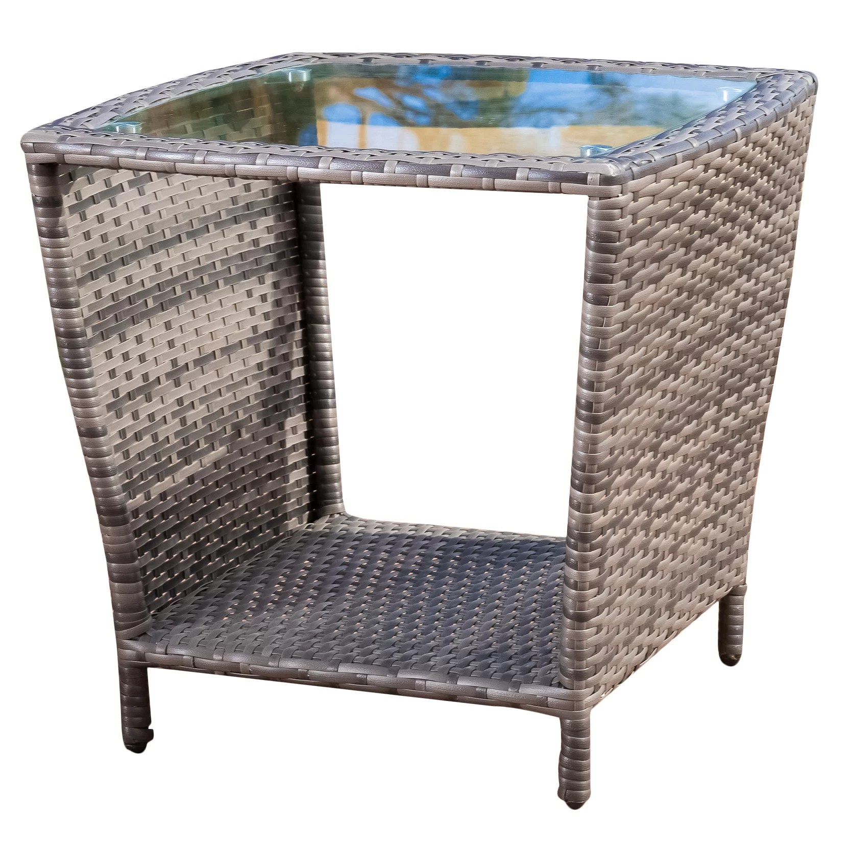 Glass Top Outdoor Table Mercury Row Austral Outdoor Wicker Side Table With Glass