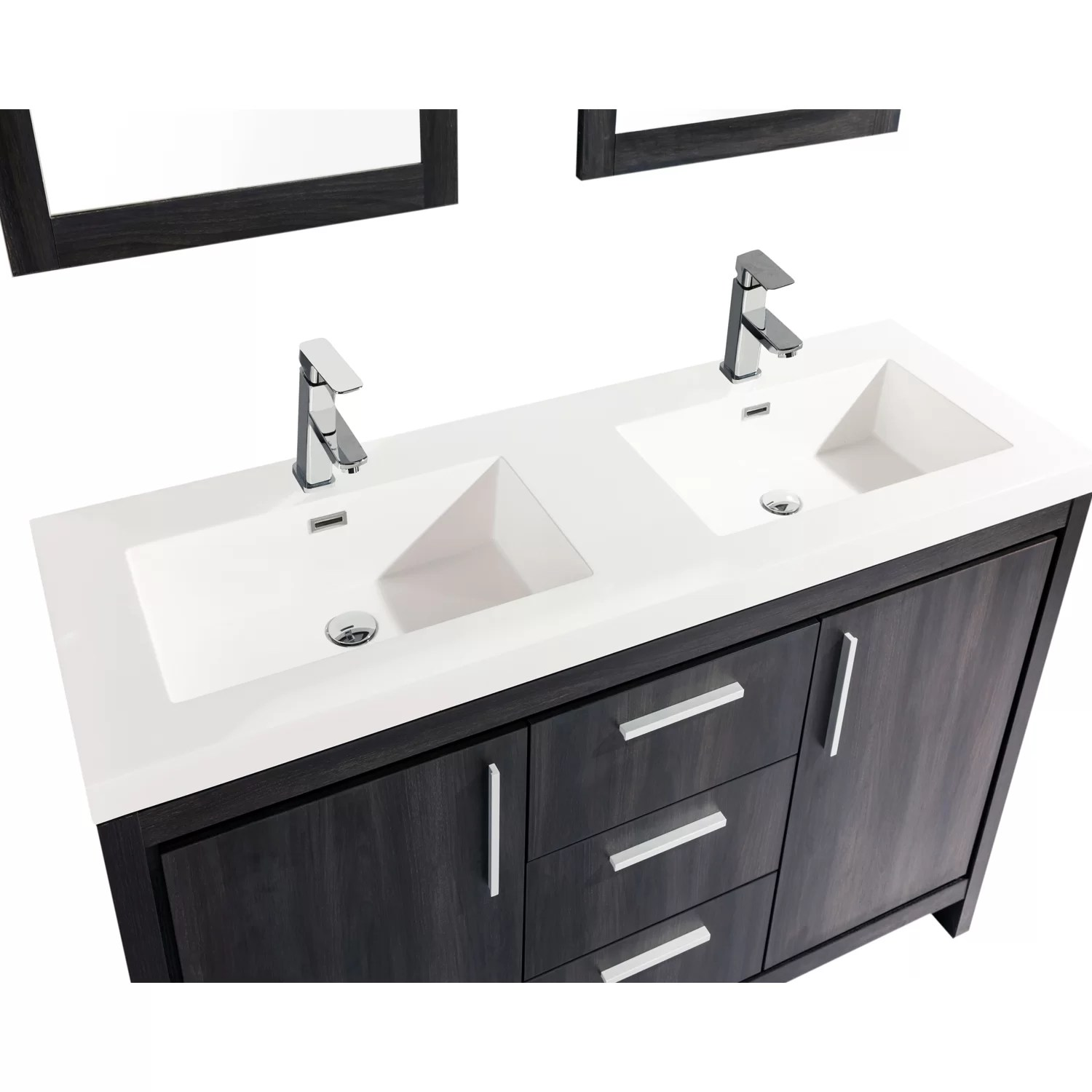 Mirrored Bathroom Vanity With Sink Mtdvanities Miami 59 Quot Double Sink Modern Bathroom Vanity