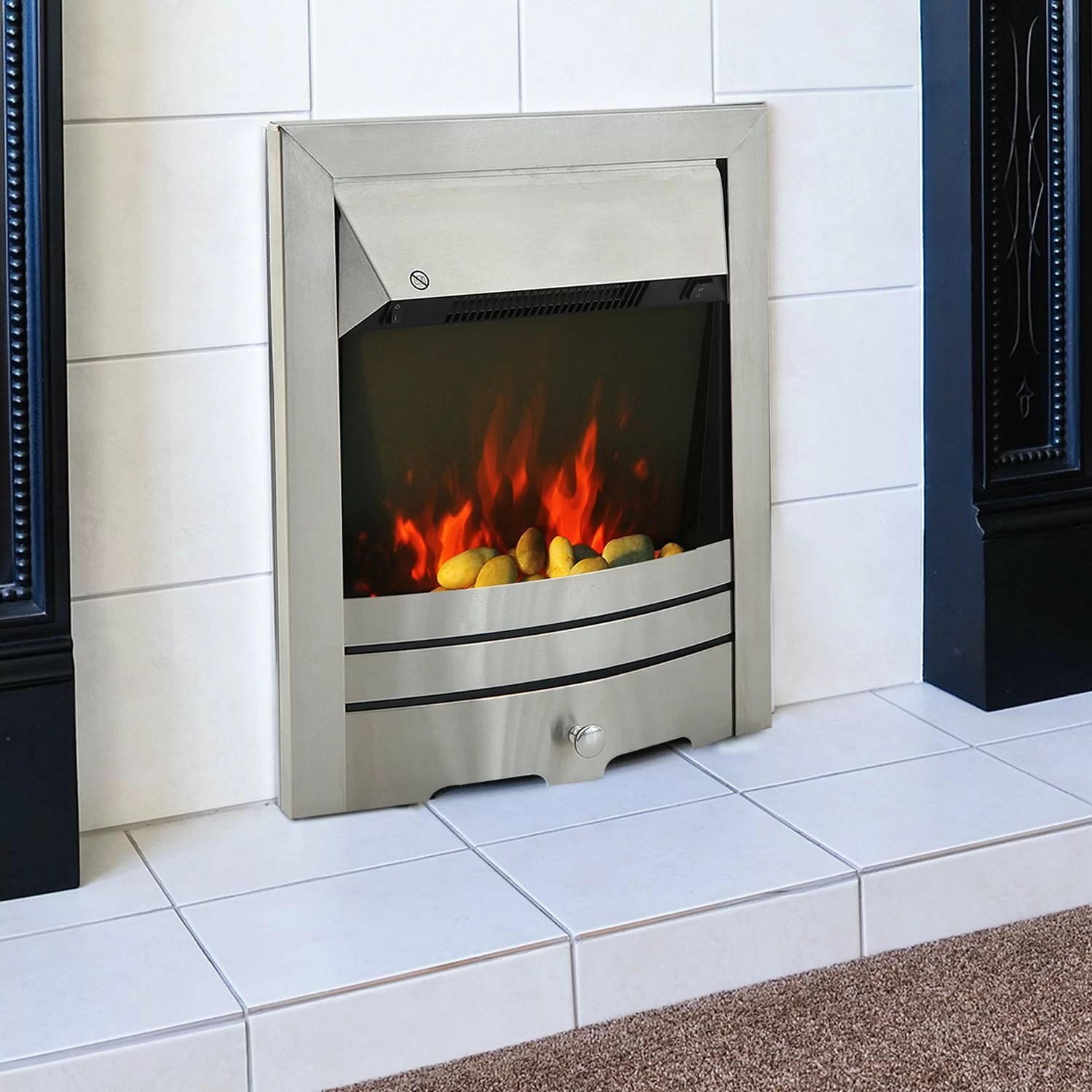 Stainless Steel Fireplace Homcom Stainless Steel Electric Fireplace Wayfair Uk