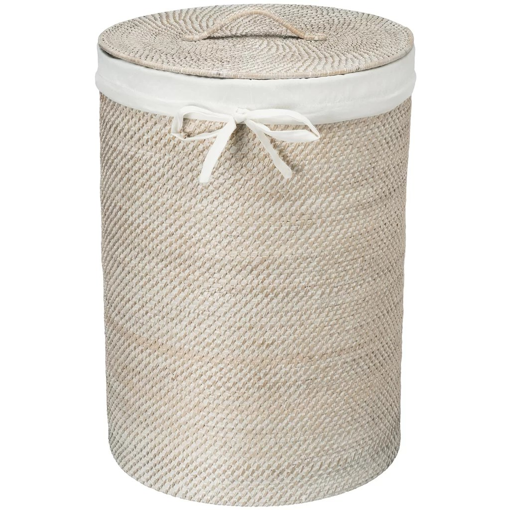White Hamper With Liner Kouboo Round Rattan Laundry Hamper With Cotton Liner