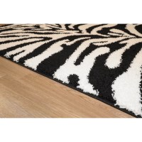 Rugnur Bella Zebra Print Black & White Shag Area Rug ...