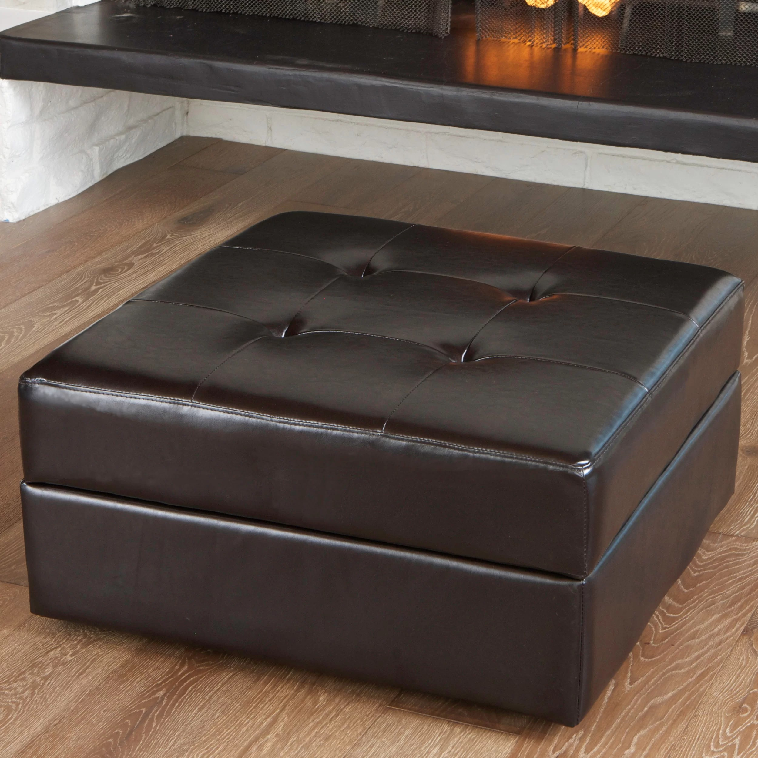 Storage Pouf Darby Home Co Fryth Leather Upholstered Storage Ottoman
