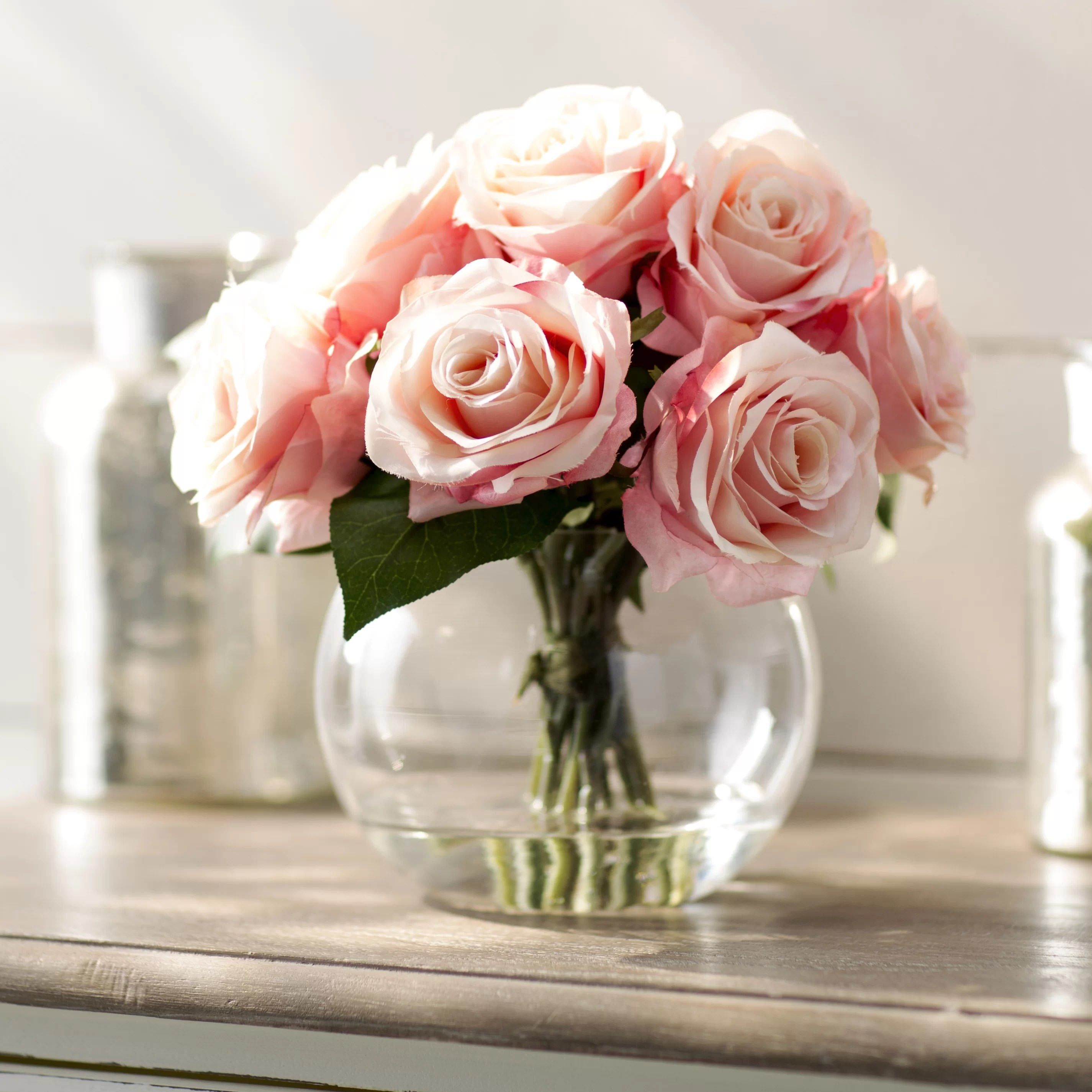 Rosen In Vase Lark Manor Roses In Glass Vase And Reviews Wayfair