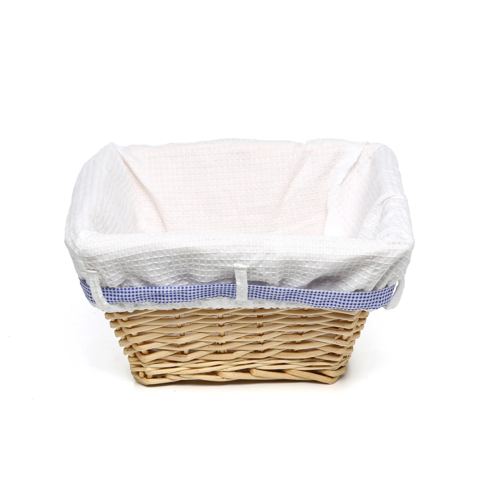 White Hamper With Liner Lark Manor Natural Square Nursery Basket With White Waffle
