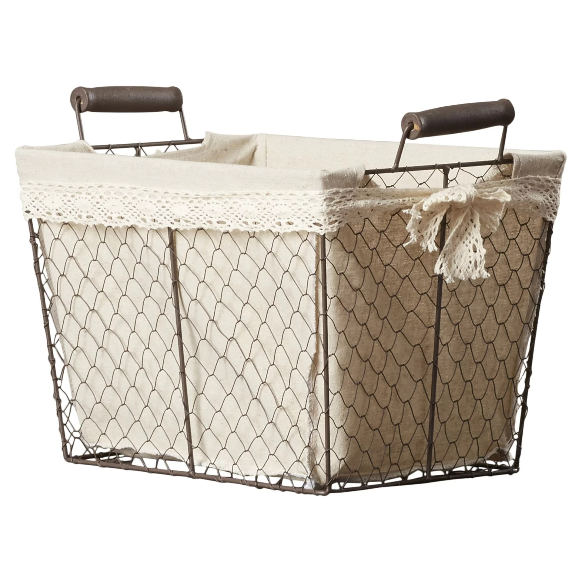 August Grove 3 Piece Rectangular Lined Wire Storage Basket