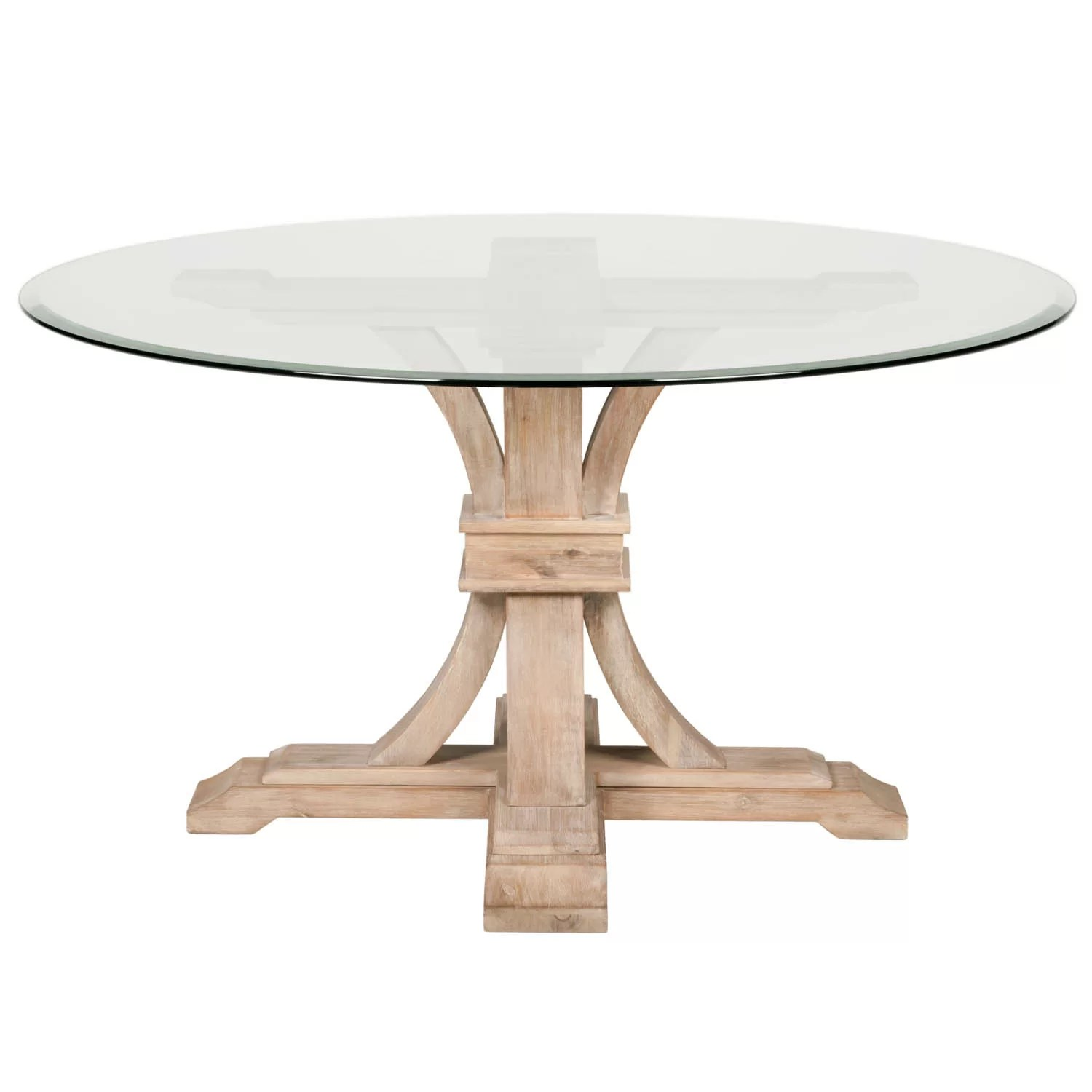 "One Allium Way Montcerf 54"" Round Glass Dining Table"