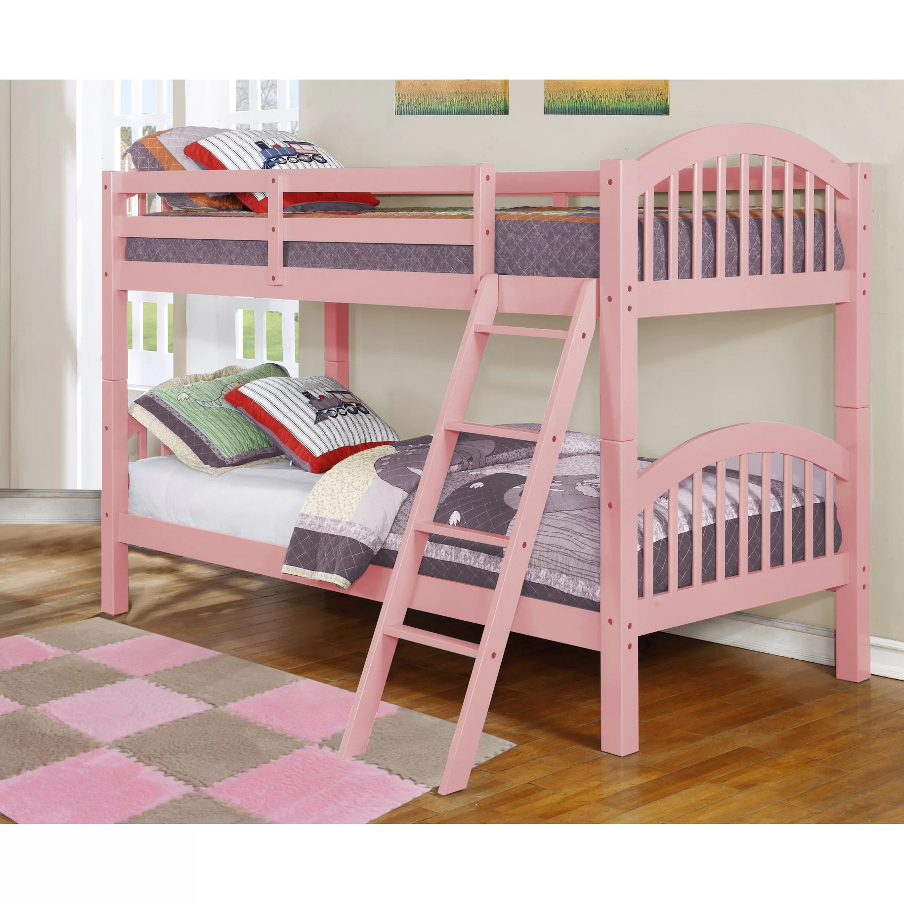 Twin Loft Bed Viv + Rae Hudson Twin Over Twin Bunk Bed & Reviews | Wayfair