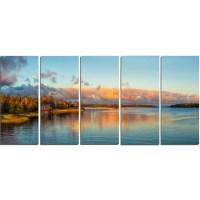 DesignArt Autumn Sunset Panorama 5 Piece Wall Art on ...
