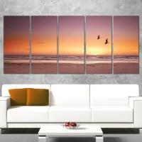 DesignArt Beach Sunset and Sea Gulls 5 Piece Wall Art on ...