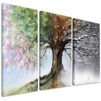 DesignArt Tree with Four Seasons - 3 Piece Graphic Art on ...