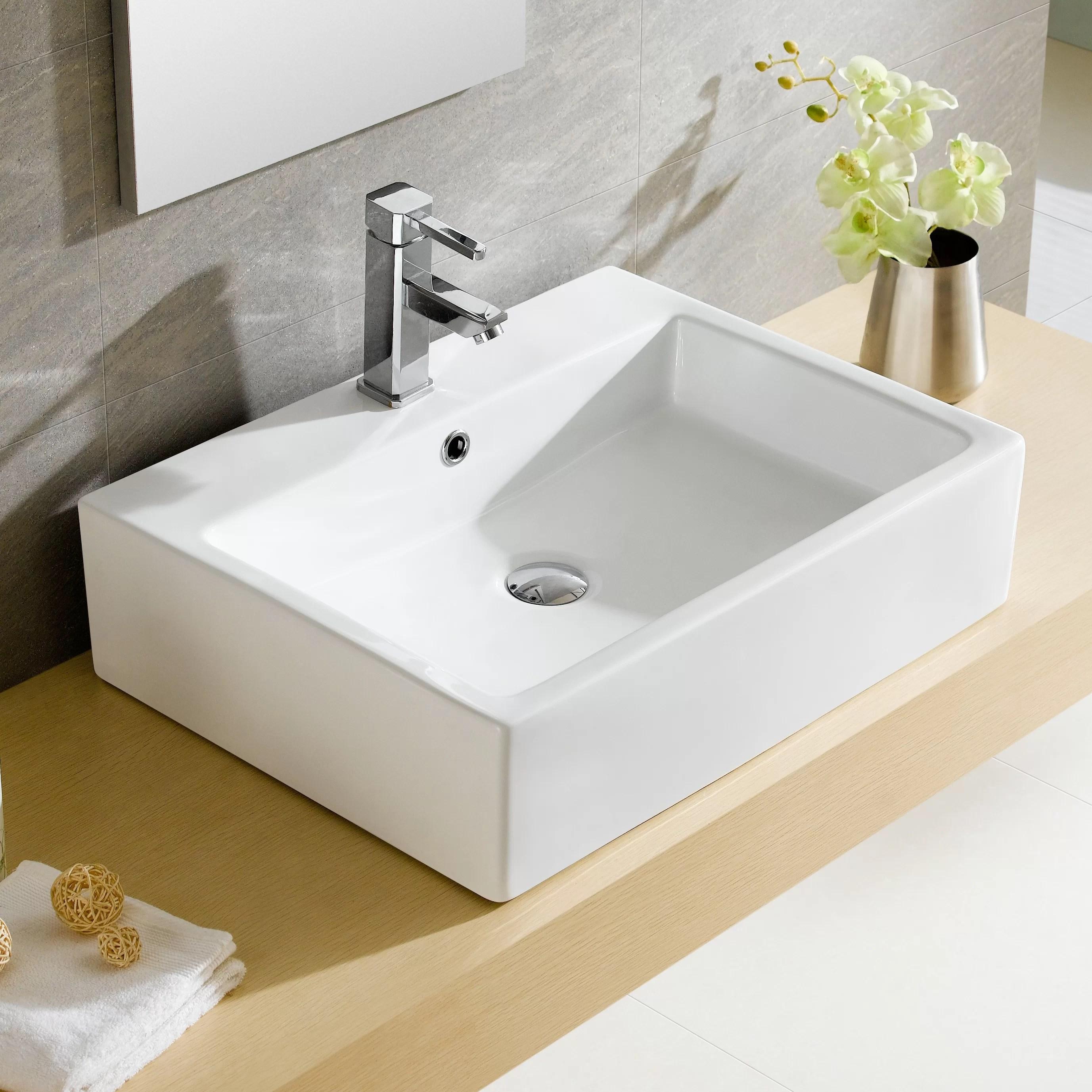 Fine Fixtures Modern Vitreous Rectangular Vessel Bathroom