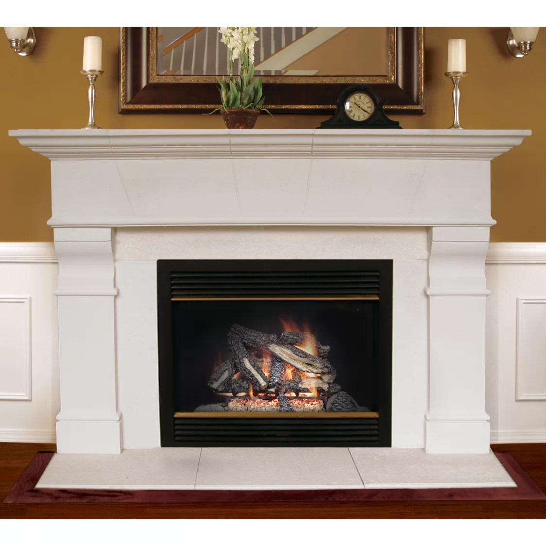 Fireplace Mantel White Americast Architectural Stone Roosevelt Fireplace Mantel