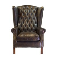 Joseph Allen Old World Antique Leather Wingback Chair ...