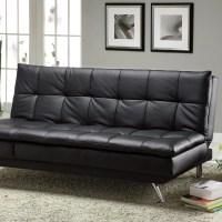 Latitude Run Black Faux Leather Sleeper Sofa & Reviews ...