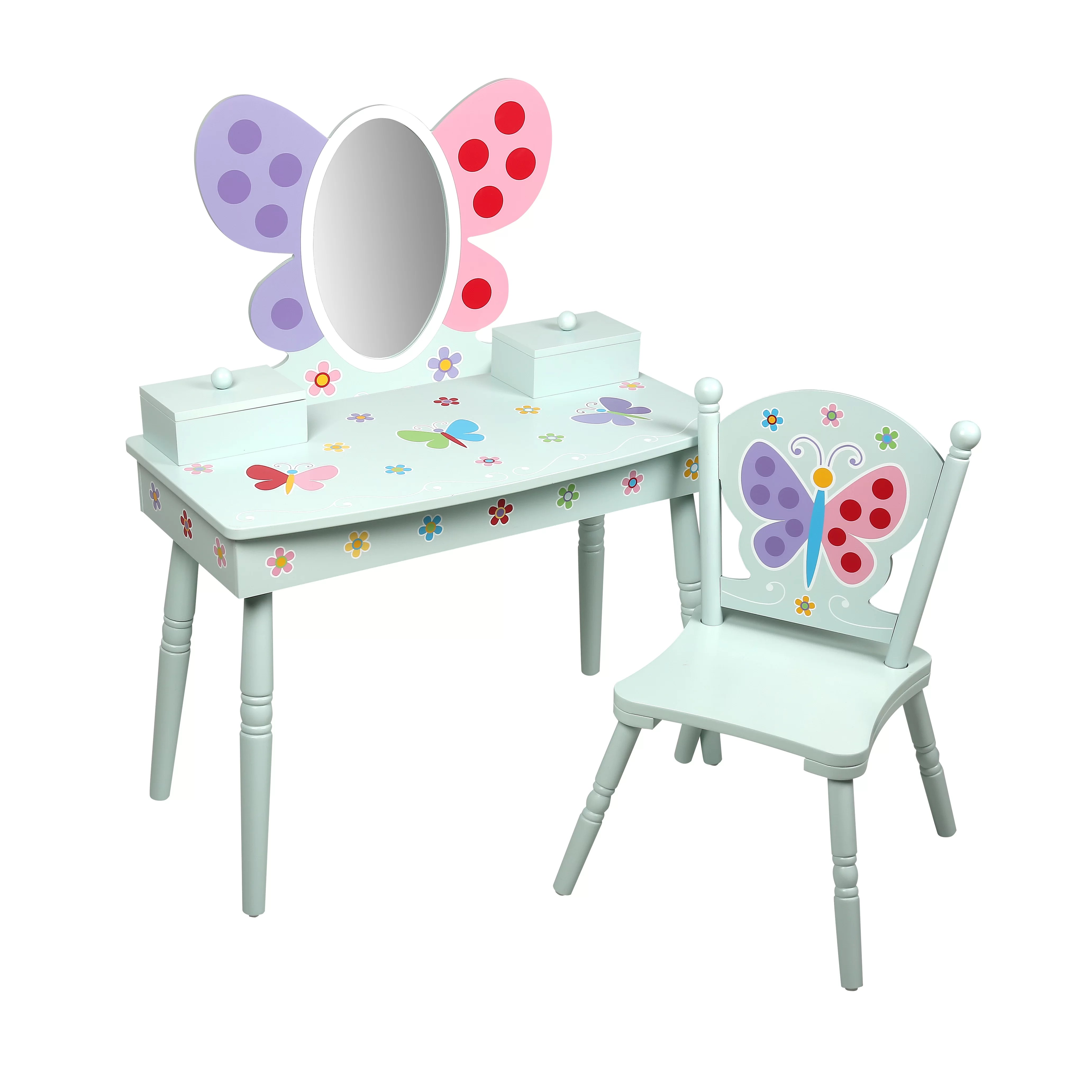 Kids Vanity Chairs Levels Of Discovery Olive Butterfly Garden Kids Vanity Set