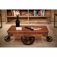 REZFurniture Vintage Center Coffee Table with Wheels | Wayfair