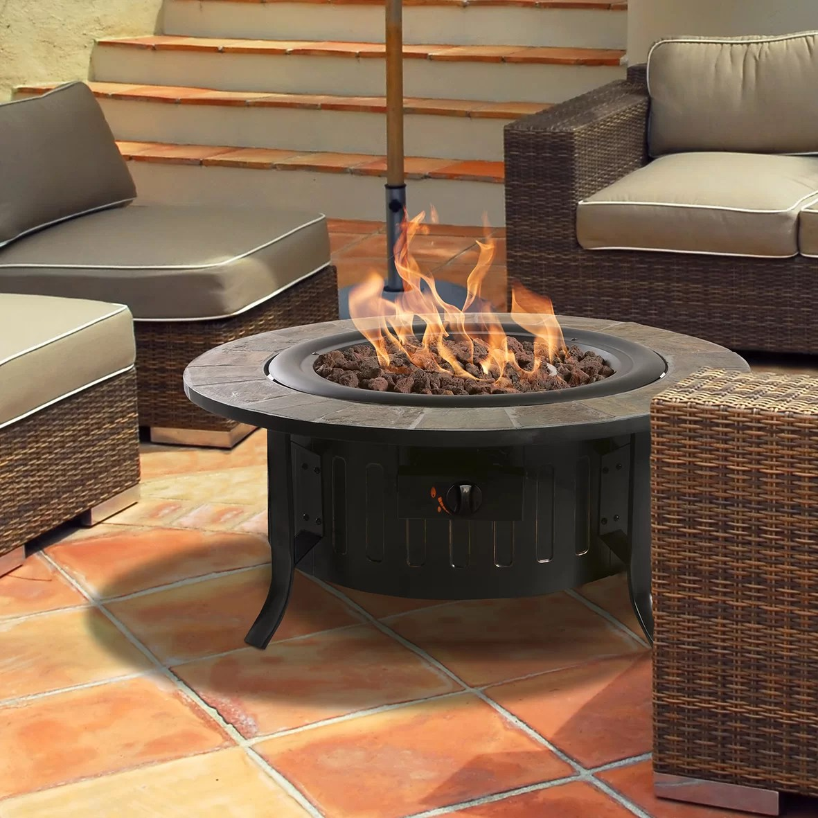 Fireplace Tables Outdoor Bond Bolen Steel Outdoor Gas Table Top Fireplace And Reviews