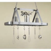 Hi-Lite Sterling Rectangular Hanging Pot Rack with 2 ...