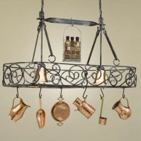 Hi-Lite Authentic Iron Oval Hanging Pot Rack with 2 Lights ...
